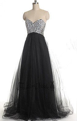 Gorgeous Sweetheart Sleeveless Tulle Prom Dress UK With Sequins_1