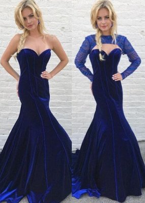 Gorgeous Long Sleeve Detachable Mermaid Long Evening Dress UK Royal Blue On Sale_1