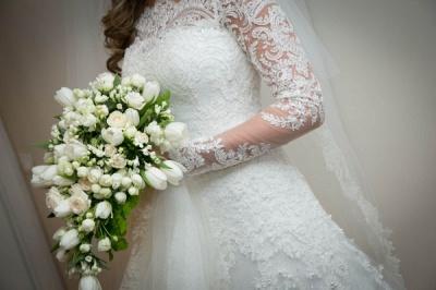 Noiva Train Ivory Long Sleeve Lace Wedding Dress Elegant Sweep Zipper Back Vestidos De Applique Wedding Dress_4