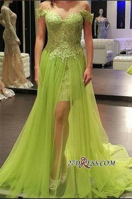 Lace Off-the-Shoulder Popular Tulle A-line Prom Dress UK_2
