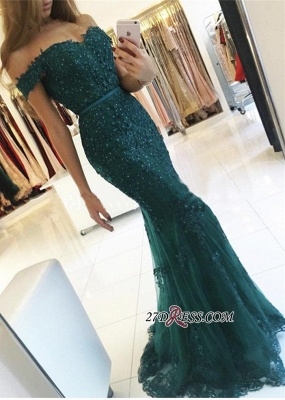 Off-the-Shoulder Appliques Lace Charming Dark-Green Mermaid Evening Dress UK BA3809_2