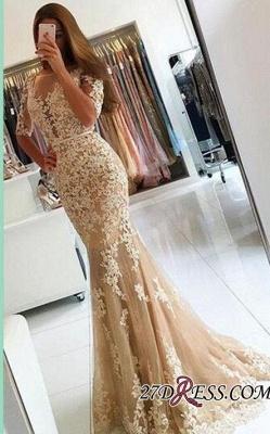 Lace Open-Back Half-Sleeves Mermaid Champagne Prom Dress UKes UK BA4982_2