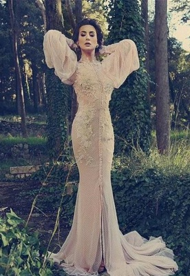 Modern High Neck Long Sleeve Mermaid Prom Dress UK With Lace Appliques_1