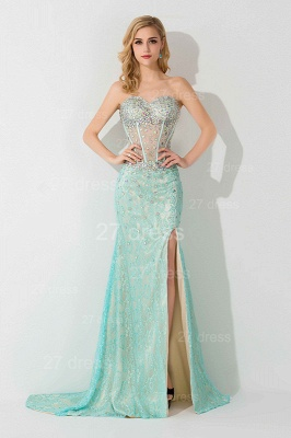 Gorgeous Front Split Crystals Evening Dress UK Sweetheart Sleeveless_1