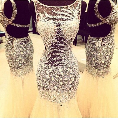 Luxurious Sleeveless Mermaid Prom Dress UKes UK Crystals Tulle Floor Length_3