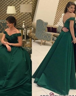 Beaded A-line Formal Dark-Green Off-the-Shoulder Evening Gown BA6508_2