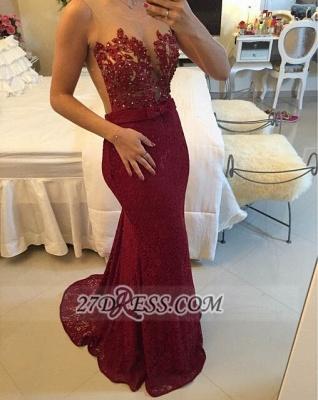Elegant Illusion Sleeveless Long Prom Dress UK Pearls Lace Mermaid Evening Gown BT0_1