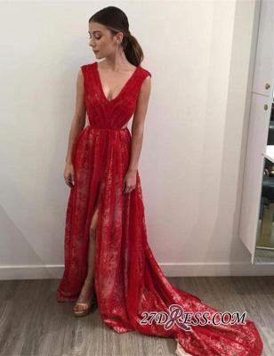 Lace Long Front-Split V-Neck Sleeveless Red Elegant Evening Dress UK_3