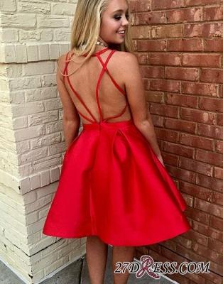 Simple Red Short A-line Sleeveless V-neck Evening Dress UK_2
