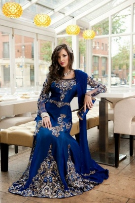 Sexy Lace Appliques Beadings Arabic Evening Dress UK Long Sleeve_1