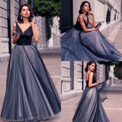Luxury V-Neck Sleeveless Tulle Floor Length Evening Dress UK_3