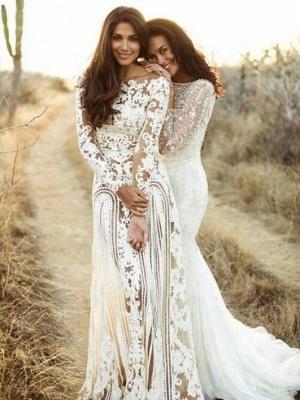 Sheath Bateau Long Sleeves Open Back Lace Wedding Dress_1