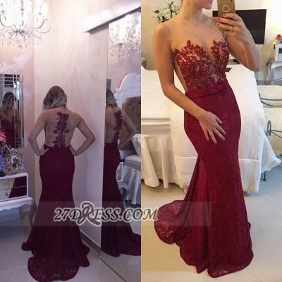 Elegant Illusion Sleeveless Long Prom Dress UK Pearls Lace Mermaid Evening Gown BT0_2