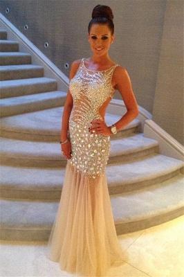 Luxurious Sleeveless Mermaid Prom Dress UKes UK Crystals Tulle Floor Length_2
