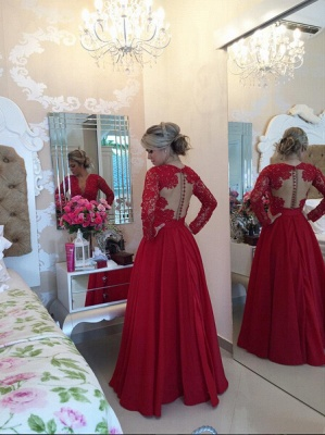 Delicate Red Chiffon Lace Prom Dress UK Pearls Long Sleeve BT0_4