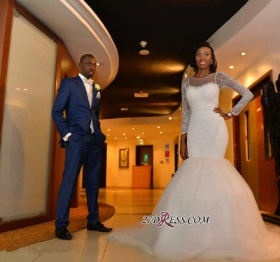 Tulle Long-Sleeve Gorgeous Beadss Zipper Wedding Dress BK0_1
