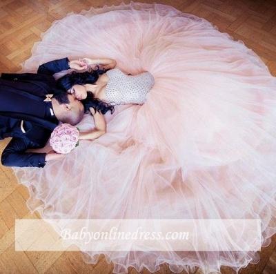 Sleeveless Sweetheart-Neck Puffy Crystals Arabic Wedding Dresses UK_2