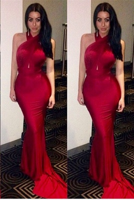 Luxury Mermaid Halter Prom Dress UKes UK Sweep Train Party Gowns_1