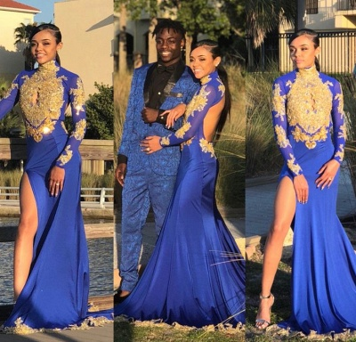 Long Sleeve Gold Appliques Prom Dress UK | Evening Gowns With Slit BK0_3
