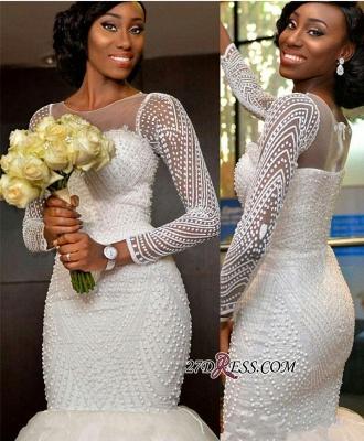 Tulle Long-Sleeve Gorgeous Beadss Zipper Wedding Dress BK0_2