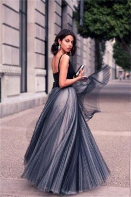 Luxury V-Neck Sleeveless Tulle Floor Length Evening Dress UK_4