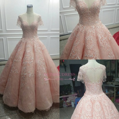 Fairy Ball-Gown Pink Short Sleeves Prom Dress UK Princess With Lace_1