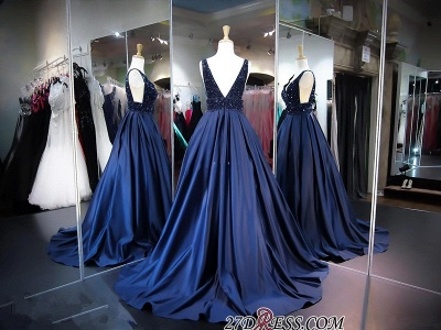 Sleeveless A-line Navy Sexy V-Neck Beadings Evening Dress UK_3