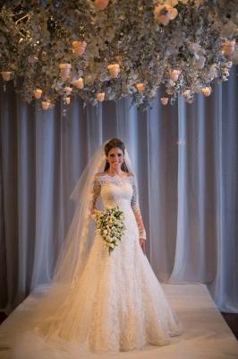 Noiva Train Ivory Long Sleeve Lace Wedding Dress Elegant Sweep Zipper Back Vestidos De Applique Wedding Dress_1