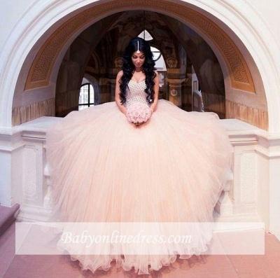 Sleeveless Sweetheart-Neck Puffy Crystals Arabic Wedding Dresses UK_1