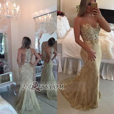 Elegant Illusion Sleeveless Long Prom Dress UK Pearls Lace Mermaid Evening Gown BT0_3