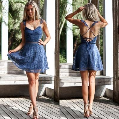 Lovely Sweetheart Lace Homecoming Dress UK | Mini Party Dress UK On Sale_5