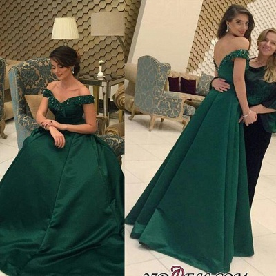 Beaded A-line Formal Dark-Green Off-the-Shoulder Evening Gown BA6508_1