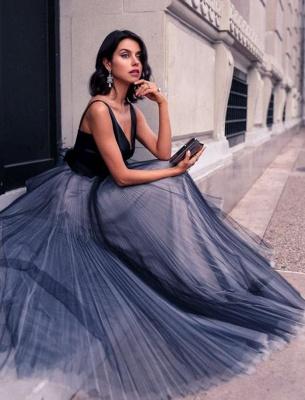 Luxury V-Neck Sleeveless Tulle Floor Length Evening Dress UK_5