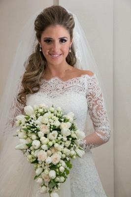 Noiva Train Ivory Long Sleeve Lace Wedding Dress Elegant Sweep Zipper Back Vestidos De Applique Wedding Dress_2