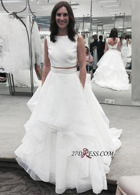 White Ruffles Jewel Newest A-line Two-Piece Sleeveless Wedding Dress_1