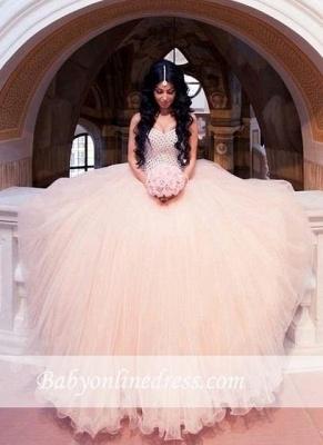 Sleeveless Sweetheart-Neck Puffy Crystals Arabic Wedding Dresses UK_3