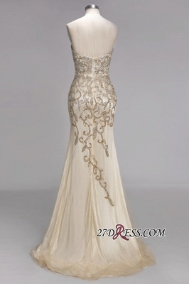 Backless Crystals Beaded Luxury Sweetheart Formal Long Tulle Evening Gowns_5