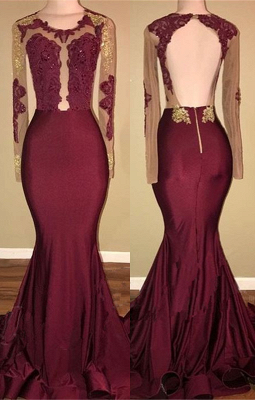 Burgundy Long-Sleeve Prom Dress UK | Lace Long Evening Gowns BA8439_1