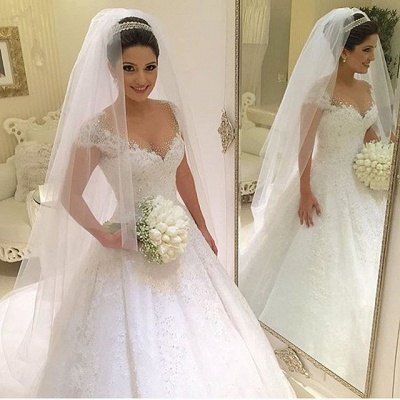 Newest V-neck Tulle Lace Appliques Wedding Dress Ball Gown Beadss Court Train BA2915_3
