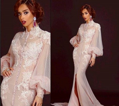 Modern High Neck Long Sleeve Mermaid Prom Dress UK With Lace Appliques_2