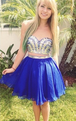 Modern Two Piece Crystals Short Homecoming Dress UK Sweetheart_1