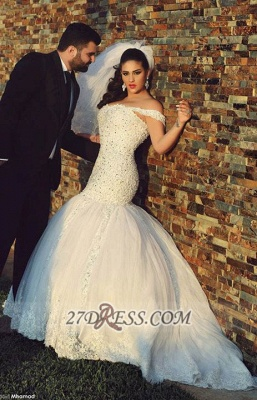 Off-shoulder Sexy Mermaid Tulle Wedding Dress With Beadss Lace_1