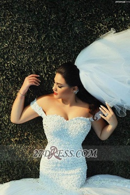 Off-shoulder Sexy Mermaid Tulle Wedding Dress With Beadss Lace_5
