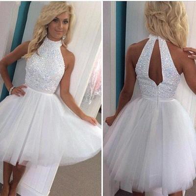 Newest White Halter Beading Homecoming Dress UK Mini Sleeveless Zipper_3