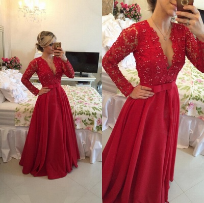 Delicate Red Chiffon Lace Prom Dress UK Pearls Long Sleeve BT0_5
