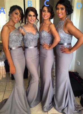 Different Styles Lace Appliques Mermaid Bridesmaid Dress UK_4