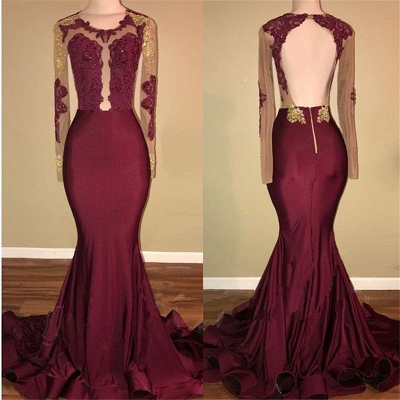 Burgundy Long-Sleeve Prom Dress UK | Lace Long Evening Gowns BA8439_3
