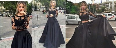 Elegant Black Lace Long Sleeve Prom Dress UK Two Pieces Long Evening Gown_3