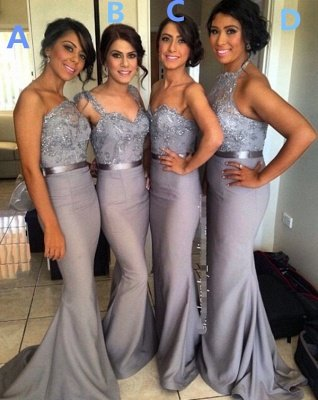 Different Styles Lace Appliques Mermaid Bridesmaid Dress UK_5