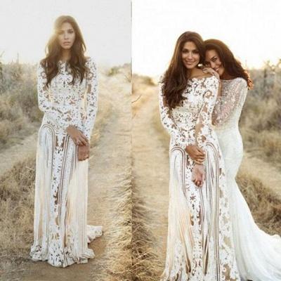 Sheath Bateau Long Sleeves Open Back Lace Wedding Dress_3